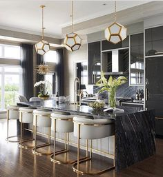 Luxe Glam style kitchen and dining room interior design with marble Eat In Kitchen Design Ideas D E A on