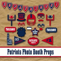 New England Patriots Football Photo Booth Props and Party Decorations | OldMarket - Digital Art on ArtFire