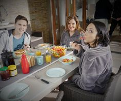 Eating breakfast in the afternoon is always fun! #BehindTheScenes #Neighbours