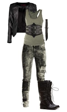 A fashion look from February 2016 featuring green top, moto jacket and skinny jeans. Browse and shop related looks. Dress Outfits, Cool Outfits, Dystopian Fashion, Gone Girl, Fandom Outfits, Fantasy Costumes, Workout Pants, Military Jacket, Maze Runner