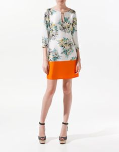 PRINTED DRESS WITH GOLD PIECE and orange bottom - Dresses - Woman - ZARA United States