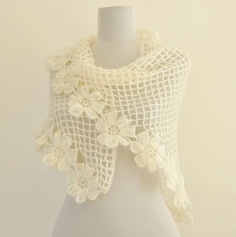 Etsy - reflectionsbyds - Ivory Flowers Of Love Mohair Shawl - Weddings Shawl