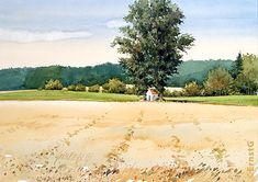 Watercolor Landscape, Watercolor Paintings, Study Table Designs, Painted Trees, Watercolours, Art Work, Art Pieces, Country Roads, Illustrations