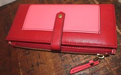Fossil Red & Coral Leather Women Keely Tab Clutch Wallet #Fossil #Envelope