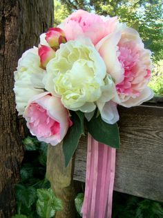 White Pink Bridal Bouquets Peony Rustic Garden by TwiningVines, $77.50