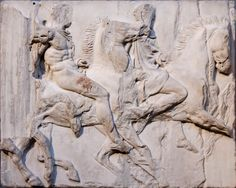 The Horsemen of the South Frieze, the South Metopes of the Parthenon, British Museum Ancient Greek Sculpture, Ancient Greek Art, Greek Statues, Ancient Greece, Ancient History, Art History, Ancient Rome, Ancient Greek Architecture, Art And Architecture