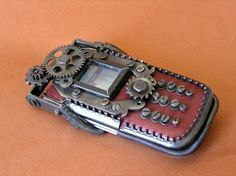 This steampunk stuff is fun...This is a cell phone case. Notice you have to turn the screws ...Not sure it makes things easier, but it is pretty cool.