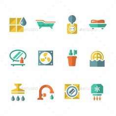 Set Flat Icons of Bathroom by moto-rama Set Flat Icons of Bathroom Isolated on White �20Available RGB color �20Good choice for use in infographic and interface Attached
