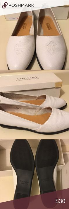 Calvin Klein White Leather Espadrilles size 8.5 Calvin Klein White leather Espadrilles size 8.5 width B. Awesome shoes in excellent condition. Only worn briefly for a reception. Calvin Klein Shoes Espadrilles