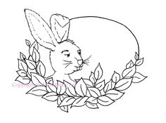 Easter bunny in leafy oval frame digistamp, digi or digital stamp, clip art, coloring page by artpixie on Etsy