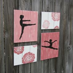 Ballerina Wall Art / Ballet / Dance with Roses  coral by NWrustic, $65.00