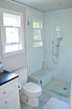Traditional 3/4 Bathroom with three quarter bath, Flat panel cabinets, European Cabinets, frameless showerdoor,Paint, Shower - BENCH SEAT don't want marble though