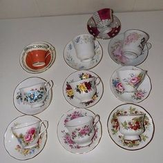 Ten Teacups With Saucers Vintage