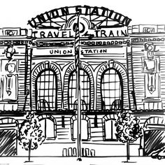 Union Station in Denver, Colorado hand illustrated by doodler Meg Sutton of Belle & Union Co. #denver #unionstation #illustration