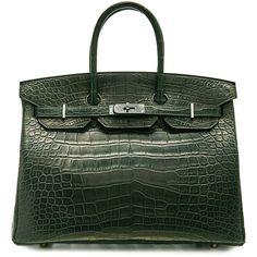 Hermès Vintage 'Birkin' bag 35 cm (€49.860) ❤ liked on Polyvore featuring bags, handbags, green, vintage purse, croc embossed handbags, hermes purse, vintage handbags and green handbags