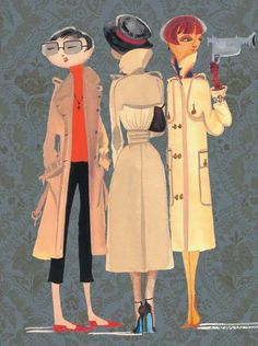 "So this quote reminds me of my daughter, Elizabeth!  ""Put on a trench, you're suddenly Audrey Hepburn walking along the Seine, even if you've got red hair and you're five-one."" — Michael Kors. [See also my pin of Hepburn in her trench, walking with Givenchy.]  This is Ruben Toledo's illustration of trench coats from Nina Garcia's book ""The One Hundred,"" one of my favorite books on style."