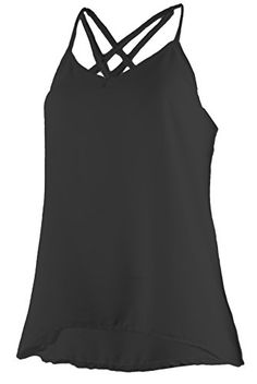 c5d275fa76a Amazon.com  Ollie Arnes Women Sleeveless Flowy Chiffon Tank Top Strappy Cami  Swing Top  Clothing