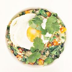 cauliflower fried rice with egg and cilantro - Clean Food Dirty City