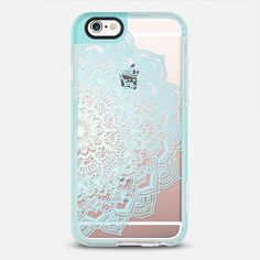 Pastel Blue Lace Mandala - protective iPhone 6 phone case in Pearl Teal by Laurel Mae | @casetify