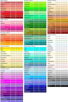 RGB color codes & SVG color names So many possibilities Colour Pallette, Colour Schemes, Color Combos, Couleur Html, Couleur Hexadecimal, Cores Rgb, Rgb Color Codes, Cs6 Photoshop, Color Mixing Chart