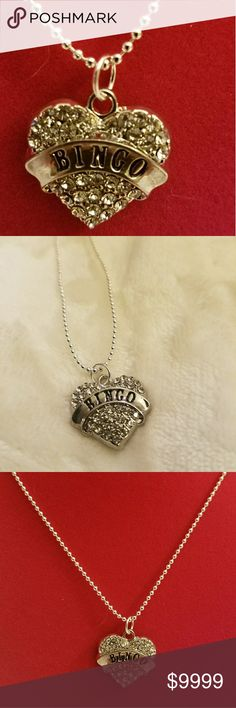 """🖤Bingo Heart Necklace Clear💥Bling 🖤Bingo Heart Necklace Clear💥Bling. About 21"""" shot bead chain. 🥈Silver hardware. Jewelry Necklaces"""