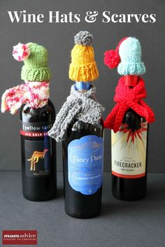 PIN FOR LATER -  Knitted Wine Hats & Scarves are a cute Christmas gift this winter.   gift idea