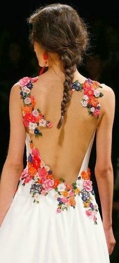 White Backless Flowered Gown
