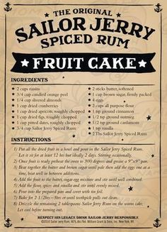 Sailor Jerry Fruit Cake. Raisins, candied orange peel, almonds, cranberries, apricots, figs, dates, Sailor Jerry Spiced Rum, butter, brown sugar, cinnamon, nutmeg, cardamom. Planet Rum