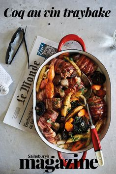 Our coq au vin traybake is a classic French dish, reimagined for a modern dinner party. Meat Recipes, Chicken Recipes, Dinner Recipes, Cooking Recipes, Healthy Recipes, Dinner Ideas, Duck Recipes, Cooking Food, Healthy Dinners