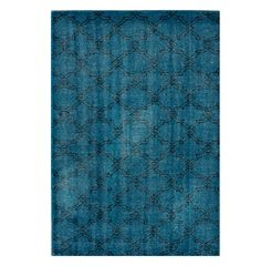 Trellis Over-Dyed Navy Hand-Knotted Rug - June, Antique Rugs