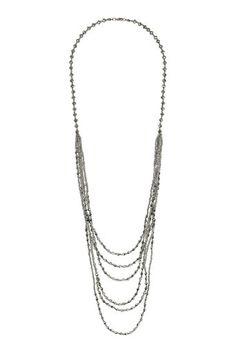 Silver Bead Multirow Necklace