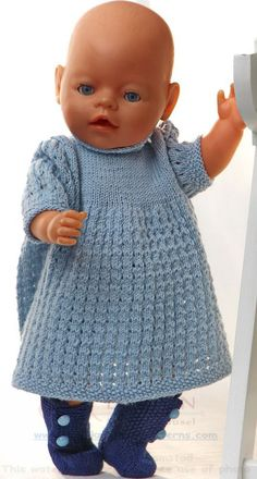 Baby Knitting Patterns Dress Doll clothes knit in light blue and dark blue Baby Knitting Patterns, Knitted Doll Patterns, Crochet Doll Pattern, Knitted Dolls, Knitting Dolls Clothes, Crochet Doll Clothes, Doll Clothes Patterns, Clothing Patterns, Dress Patterns