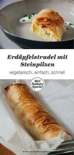 Unser Erdäpfelstrudel mit getrockneten Steinpilzen ist wunderbar aromatisch und die perfekte Resteverwertung für gekochte Kartoffeln. Einfach, vegetarisch und schnell - und so einfach geht's ... #kartoffelstrudel #steinpilzstrudel #strudel #resteverwertung #topfen #erdäpfelstrudel Austrian Desserts, Superfoods, Bon Appetit, Hot Dog Buns, Food Inspiration, Veggies, Food And Drink, Vegetarian, Tasty