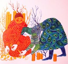 """from """"the prince and his magic horse: hungarian folktales"""", illustrated by gabriella hajnal and published by athenaeum printing house, budapest, 1975 Children's Book Illustration, Illustrations, Deities, Pattern Art, Figurative Art, Folk Art, Graphic Art, Fairy Tales, Dinosaur Stuffed Animal"""