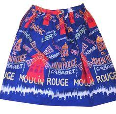 1950s Novelty Border Print Moulin Rouge Paris Gathered Skirt