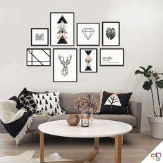 Para quem é apaixonado pelo estilo de decoração #escandinava a nova linha assinada pela @brunamalheirosmakeup vai fazer você se apaixonar!   Toda coleção tem como principais aliados as linhas simples, cores claras/pálidas (cinza, branco, rose, bege e marmorizados) e o minimalismo, além de formas geométricas, frases, folhagens, texturas leves e silhuetas abstratas e sinuosas.  E para completar criamos várias composições prontas para você deixar a sua casa linda, espia só! #alemdasparedes Retro Home Decor, Rooms Home Decor, Living Room Decor, Bedroom Decor, Kids Room Paint, Kids Room Wall Art, Diy Zimmer, Home And Deco, New Room