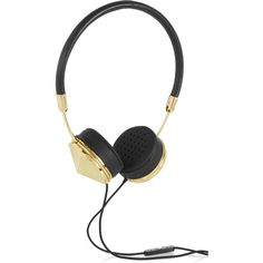 Frends Layla leather and gold-tone headphones (1.830 NOK) ❤ liked on Polyvore featuring accessories, tech accessories, headphones, black, cell phone headphones, folding headphones, frends headphones and black headphones