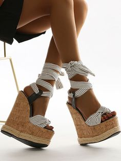 White Wedge Heels, White Wedges, Lace Up Wedges, Wedge Boots, Nike Running Shoes Women, Womens Golf Shoes, Low Heel Shoes, High Heels, Stiletto Boots
