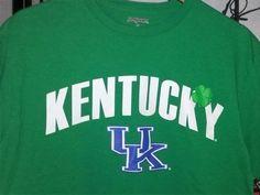 "Men College Apparel Kentucky University ""UK"" Logo-Trademark Green Tee Shirt Lg…"