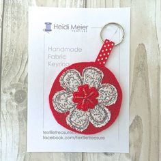 Textile floral keyring - key ring felt, floral bag charm, flower £12.50