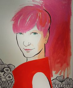 Strong woman #portrait #face #stare #eyes #smile #drawing #colour #warmcolours #reds #pink #hair pinkhair #illustration #fashionillustration #zentangle #blackandwhite #painting #acrylic #ink #flowers #turquoise