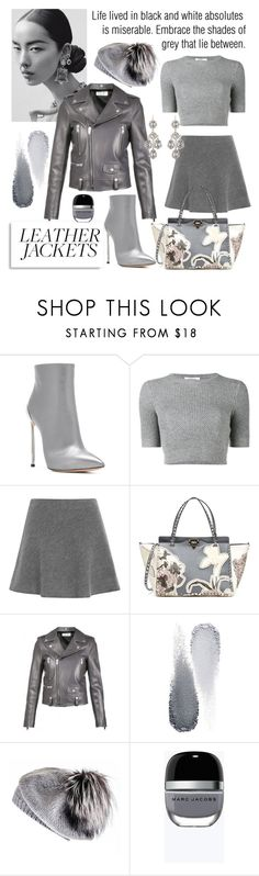"""Cool-Girl Style - Leather Jackets in Shades of Grey"" by sarina-noel ❤ liked on Polyvore featuring Casadei, Valentino, Yves Saint Laurent, Clé de Peau Beauté, Black, Marc Jacobs, grey, shadesofgrey and fall2017"