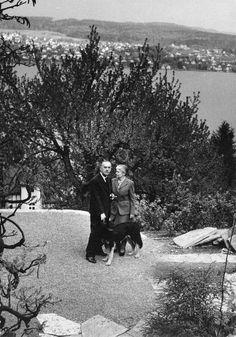 Fotografie: Thomas und Katia Mann vor dem Zürichsee