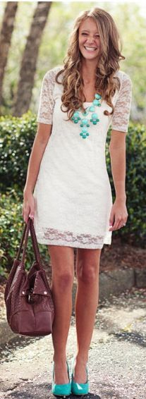 white lace dress with exact necklace in coral instead, will be my engagement photo outfit
