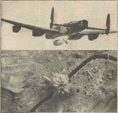 "The 22,000lb Bomb of the RAF lives up to its nickname ""Grand Slam"".  The picture shows one leaving on a #WW2 #Lancaster bomber during an attack on the famous viaduct at Arnsberg, south east of Hamm, on March 29th, 1945, and another picture showing the bomb exploding on the target."