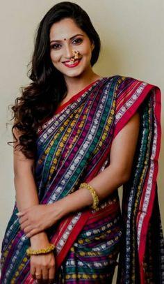 Indian Actress Photos, Indian Actresses, Indian Beauty Saree, Indian Sarees, Marathi Nath, Nose Ring Jewelry, Saree Photoshoot, Lovely Smile, Glamorous Makeup