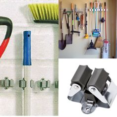 Tool holders – also great for hockey sticks, umbrellas and mops House In The Woods, Tool Holders, Hockey Sticks, Tools, Umbrellas, Sheds, Storage Ideas, Projects, Deck