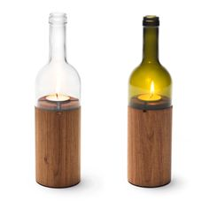 26 craft ideas for DIY projects from wine bottles projekte holz Ways to Reuse Glass Bottles – 26 Ideas for Old Wine Bottles Wine Bottle Candle Holder, Wine Bottle Art, Wine Bottle Crafts, Candle Holders, Bottle Wall, Candle Box, Bottle Holders, Empty Wine Bottles, Recycled Wine Bottles