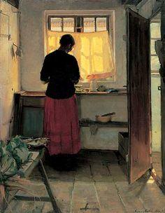 Anna Ancher: Pigen i køkkenet. 1883 og 1886.
