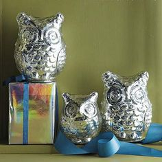 Mercury Owls  from WestElm, all the money from these cute little guys go to St. Jude Children's Research Hospital! Owl Mug, Ceramic Owl, Owl Always Love You, Owl Bird, Cute Owl, Mercury Glass, West Elm, Decorative Objects, Home Accessories